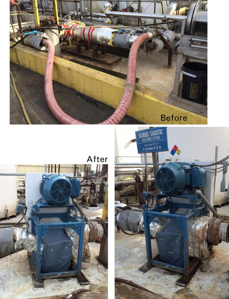 Before and after of a pump install