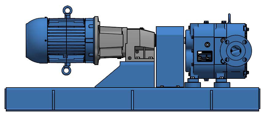 Standard in-line configuration with electric motor and NEMA C-face gear reducer