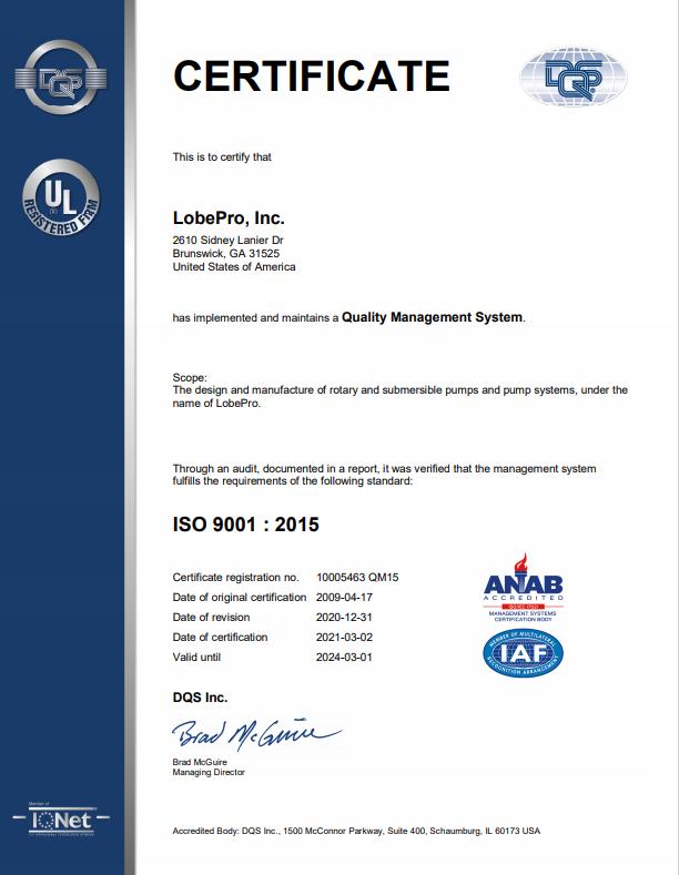 LobePro Certificate ISO 9001 : 2015
